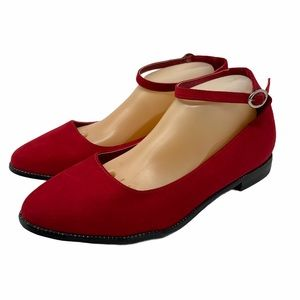 Torrid Red Pointy Toe Flats Ankle Strap 9.5 WIDE
